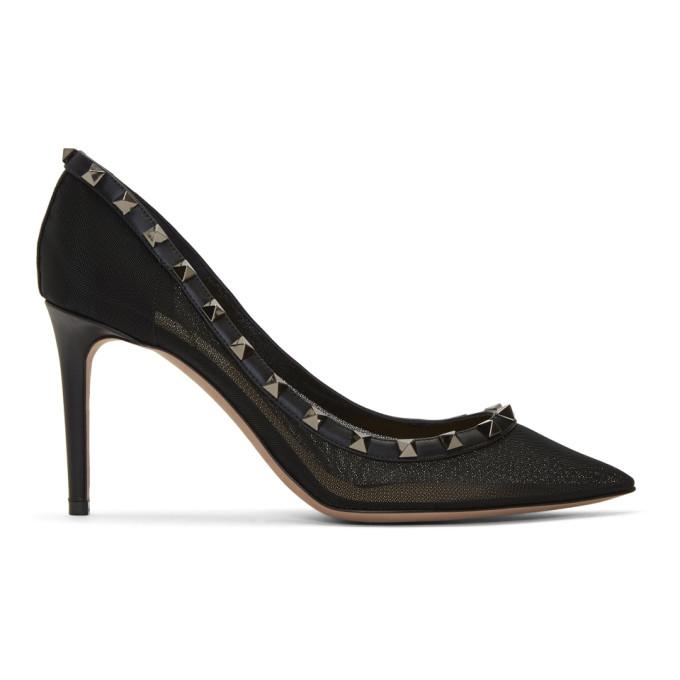 Valentino Black Valentino Garavani Rockstud Mesh Heels