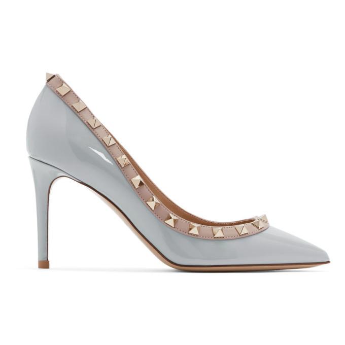 Valentino Grey Valentino Garavani Patent Rockstud Heels