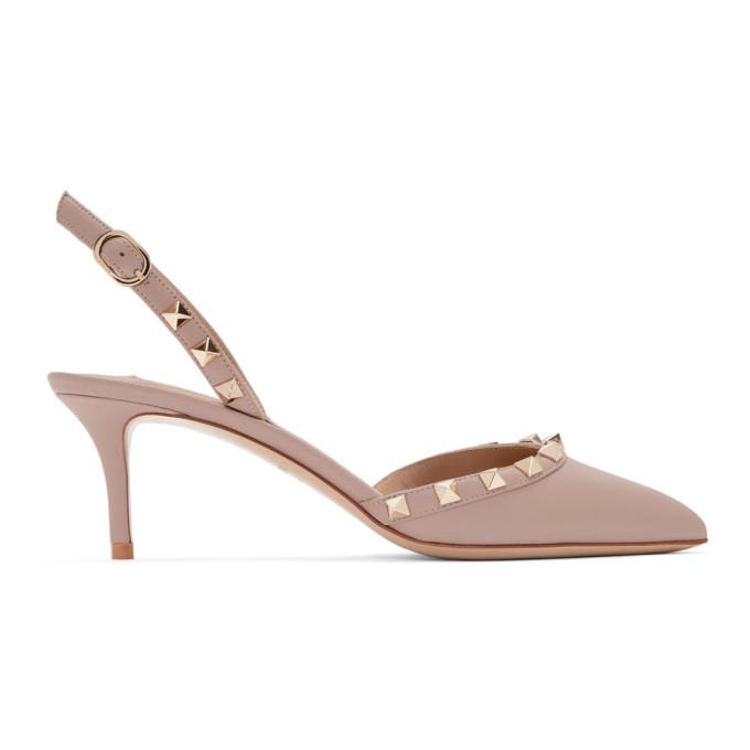 Valentino Pink Valentino Garavani Rockstud Slingback Heels