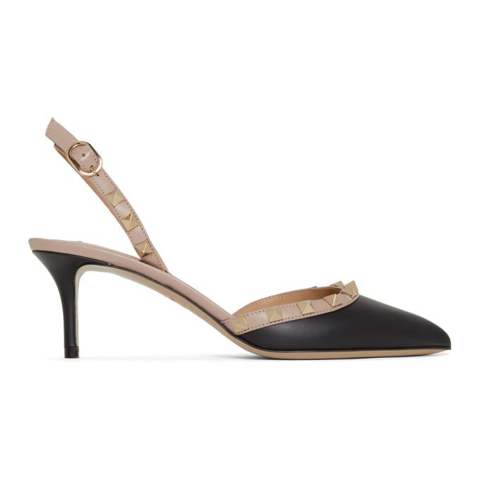 Valentino Black Valentino Garavani Rockstud Slingback Heels