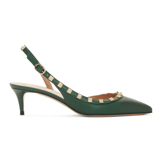 Valentino Green Valentino Garavani Rockstud Slingback Heels