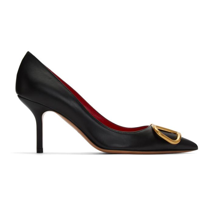 Valentino Black Valentino Garavani VLogo 80 Heels
