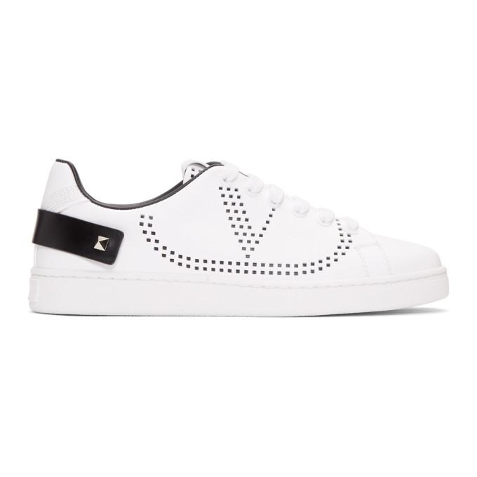 Valentino White and Black Valentino Garavani VLogo Backnet Sneakers