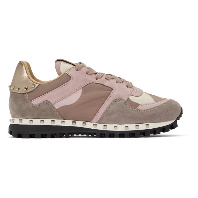 Valentino Pink Valentino Garavani Camo Rockstud Sneakers