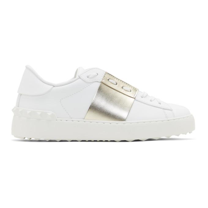 Valentino White and Gold Valentino Garavani Rockstud Open Sneakers