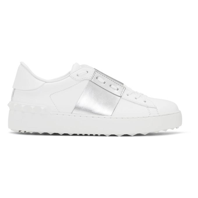 Valentino White and Silver Valentino Garavani Open Sneakers
