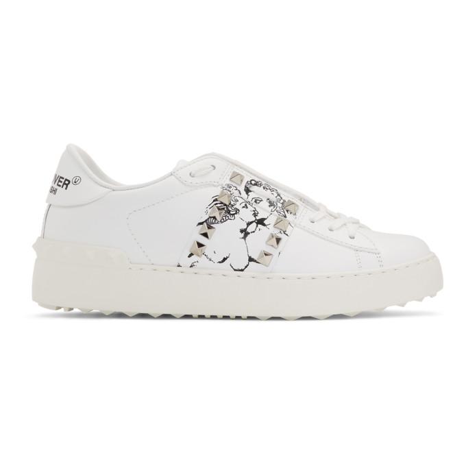 Valentino White Valentino Garavani Undercover Edition Kissing Couple Rockstud Sneakers