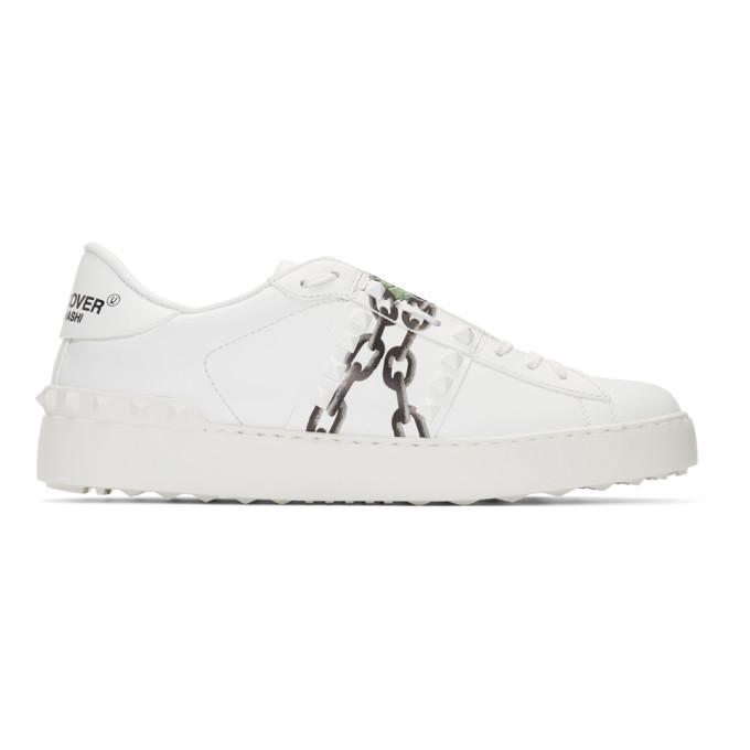 Valentino White Valentino Garavani Undercover Edition Chains Rockstud Sneakers