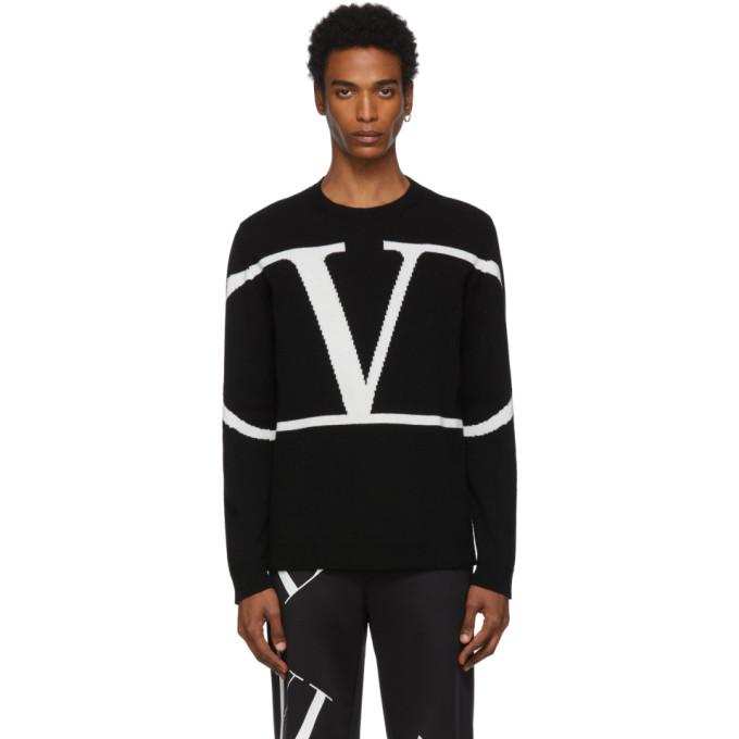 VALENTINO   Valentino Black Cashmere VLogo Sweater   Goxip