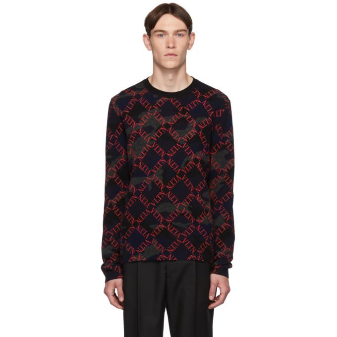 Valentino Black and Red Camo Logo Sweater