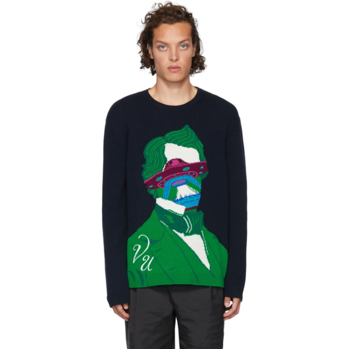 Valentino Navy Undercover Edition V Face UFO Sweater