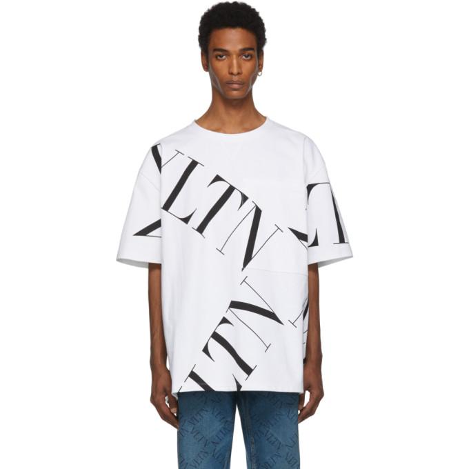 VALENTINO   Valentino White VLTN Macrogrid T-Shirt   Goxip