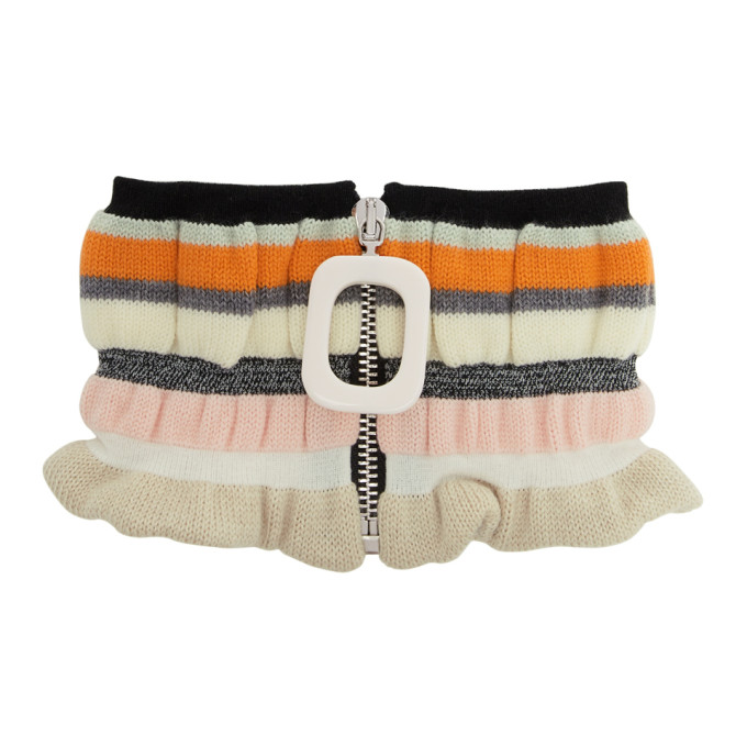 JW Anderson Off-White Striped Zip-Up Neck Scarf