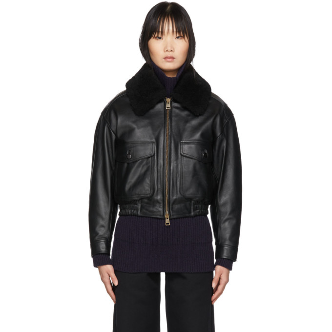 AMI Alexandre Mattiussi AMI Alexandre Mattiussi Black Grained Leather Shearling Jacket