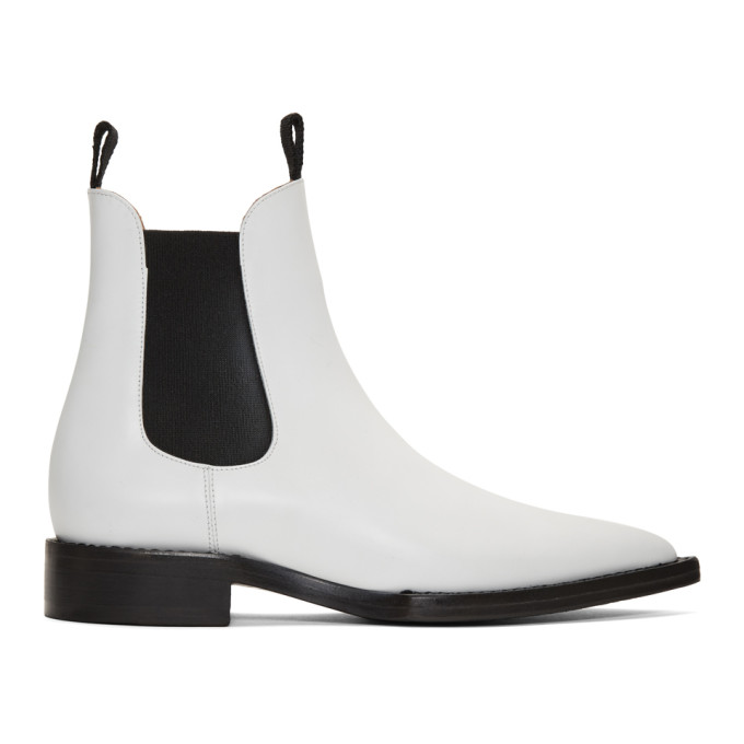 AMI Alexandre Mattiussi Bottes chelsea blanches Pointed