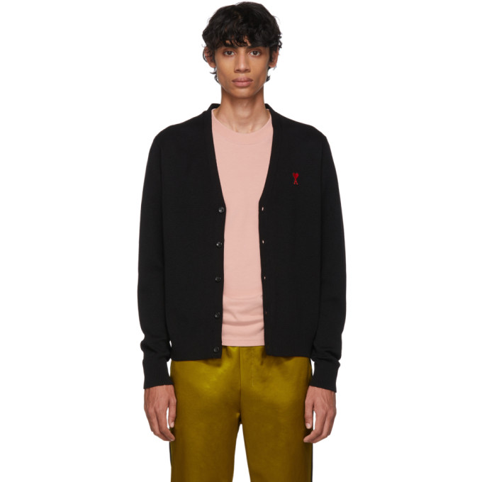 AMI PARIS | AMI Alexandre Mattiussi Black Merino Wool Ami De Coeur Cardigan | Goxip