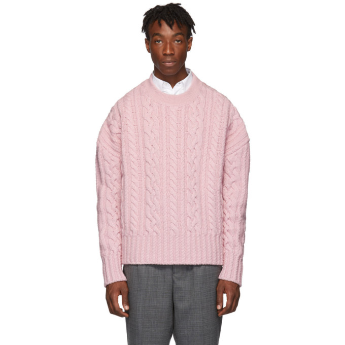 AMI Alexandre Mattiussi ピンク オーバーサイズ Torsades クルーネック セーター