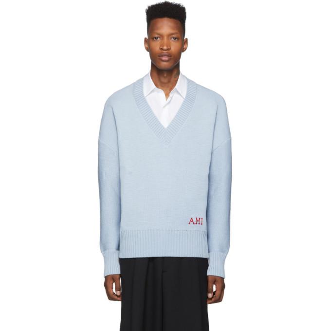AMI Alexandre Mattiussi Blue Oversized V-Neck Sweater