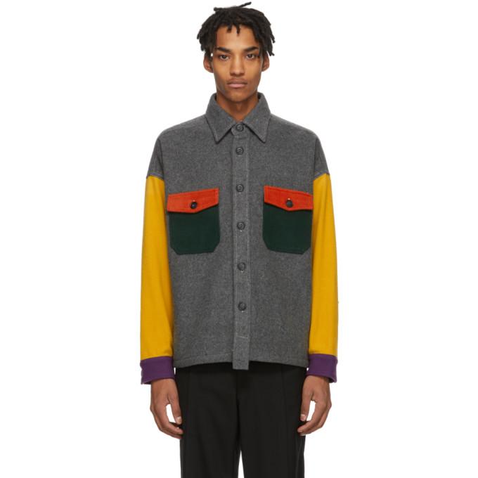 Woolrich Chemise en laine grise et multicolore edition North Hollywood