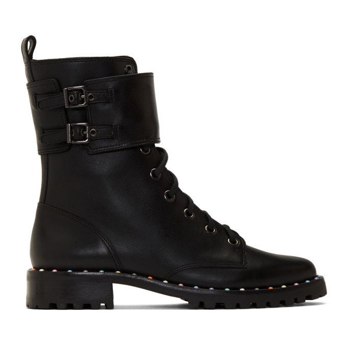 Sophia Webster Black Bessie Combat Boots