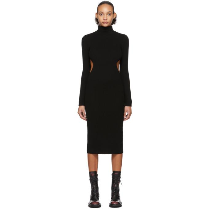 Yang Li Black Wool Destroyed Dress In 99 Black
