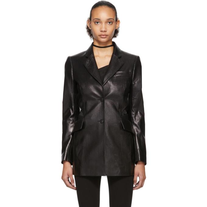 Yang Li Black Patent Faux-leather Cut-out Blazer In 99 Black
