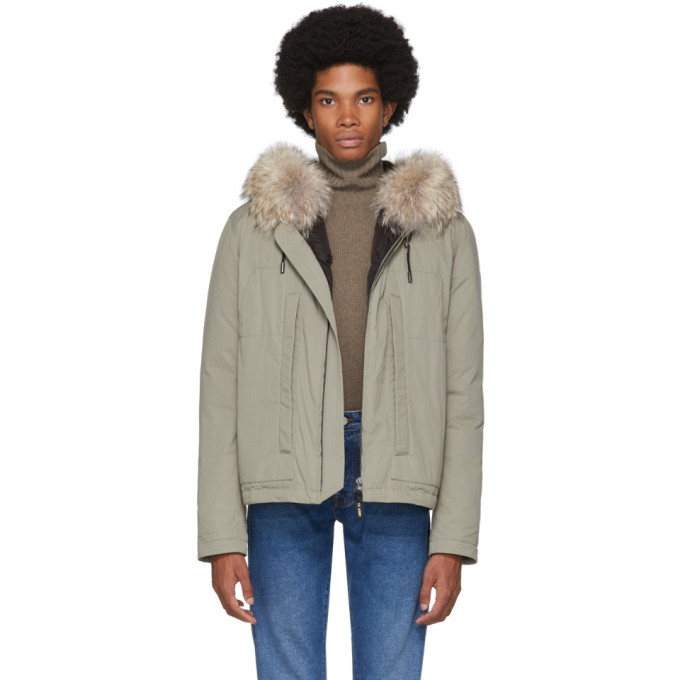 Yves Salomon - Army Beige Down and Fur Puffer Jacket