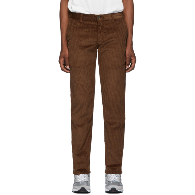 Naked and Famous Denim Pantalon chinos en serge de velours brun