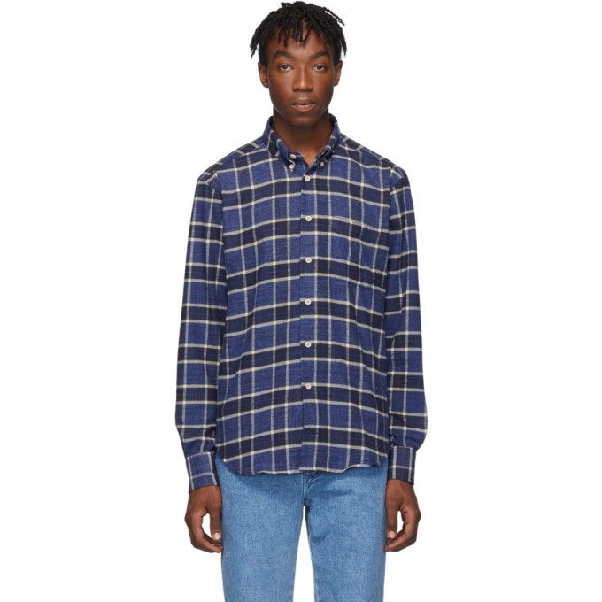 Naked and Famous Denim Chemise en flanelle brossee bleue Northern Easy