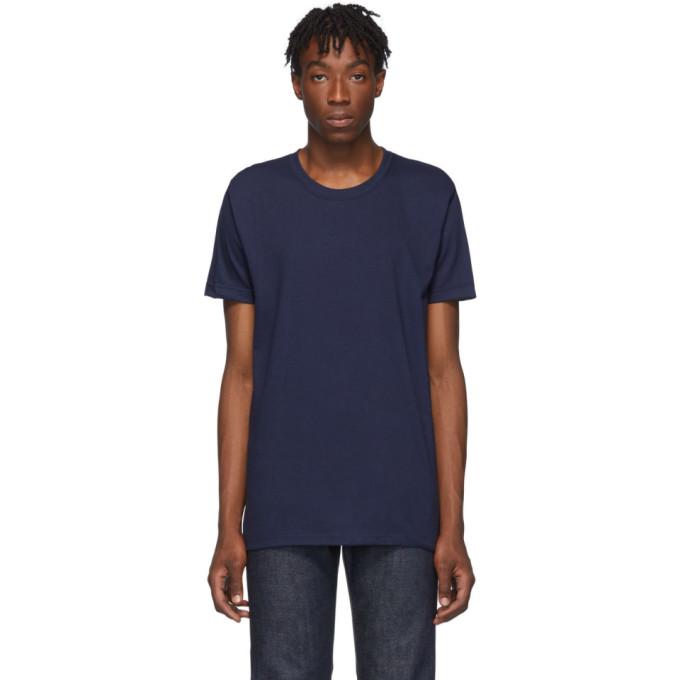 Naked and Famous Denim T-shirt en maille tubulaire bleu marine