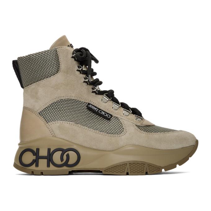 Jimmy Choo Tan Inka New Logo Lace-Up Boots