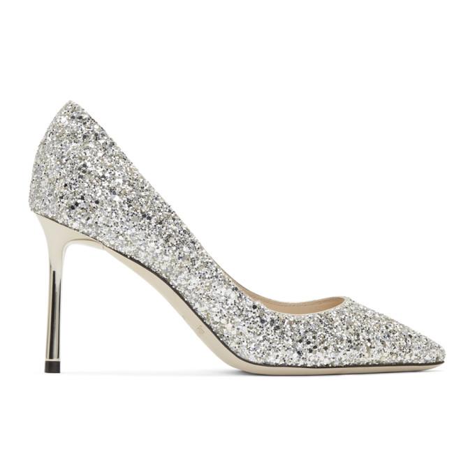 Buy Jimmy Choo Silver Glitter Romy 85 Heels online