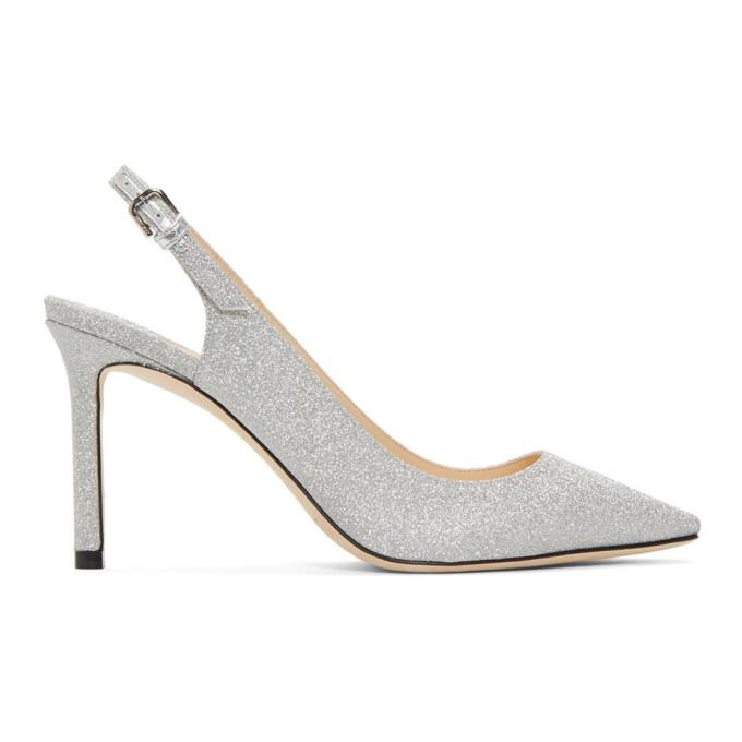 Jimmy Choo Silver Glitter Erin 85 Heels