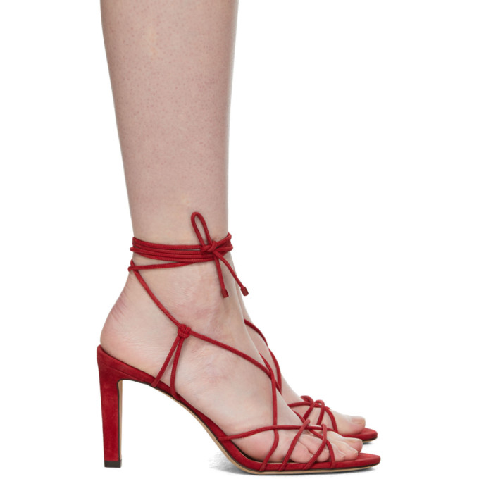 Jimmy Choo Red Suede Tao 85 Sandals