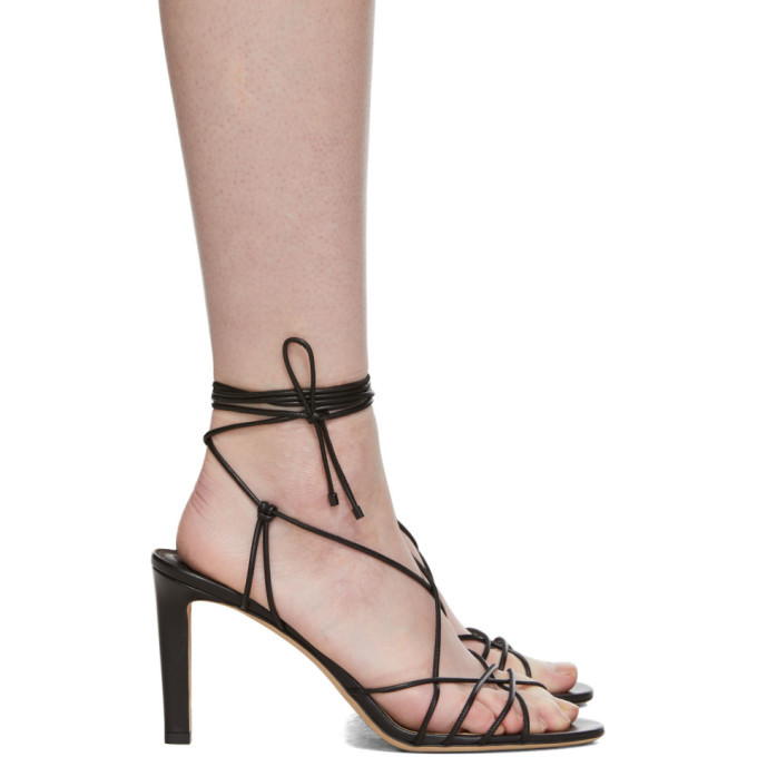 Jimmy Choo Black Leather Tao 85 Heels