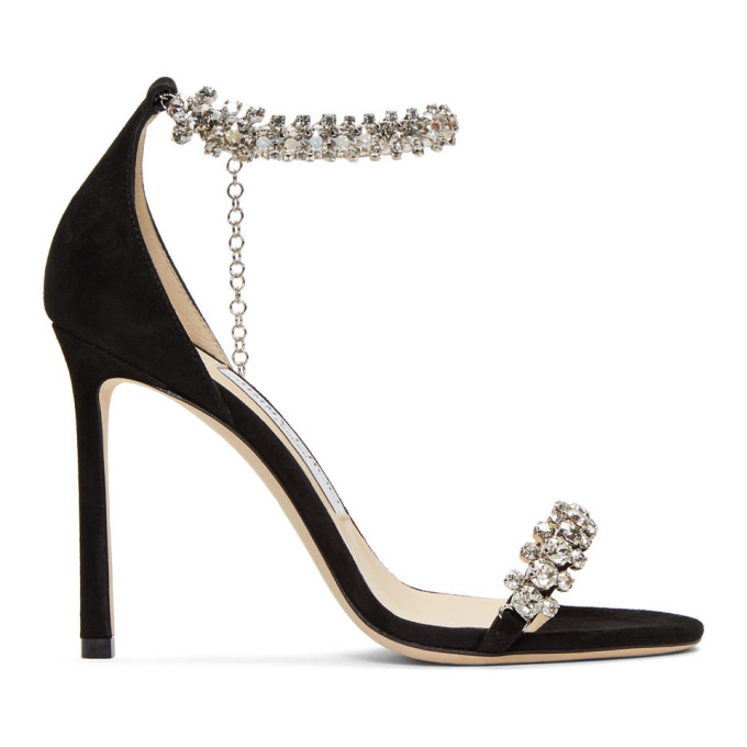 Jimmy Choo Black Suede Shiloh 100 Heeled Sandals