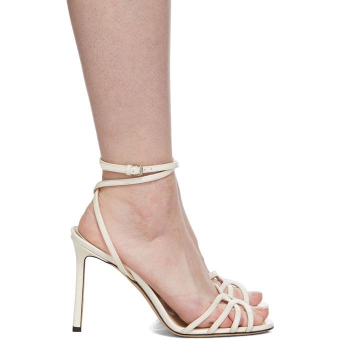 Jimmy Choo Off-White Patent Mimi 100 Sandals