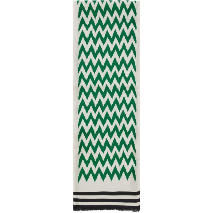 Haider Ackermann Foulard en soie vert et blanc casse Numberia