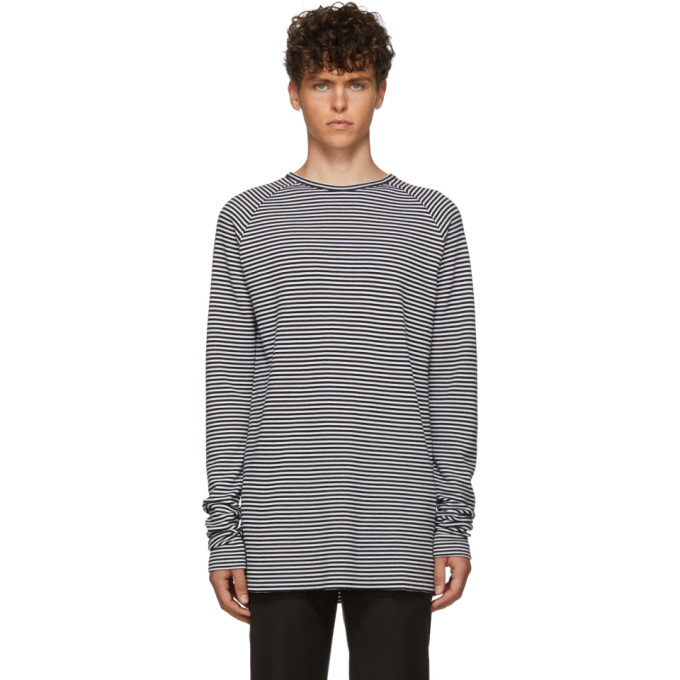 Haider Ackermann Black and White Striped Fortuna Long Sleeve T-Shirt