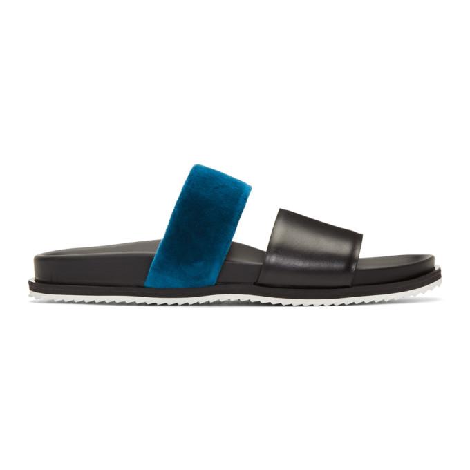 Haider Ackermann Sandales noires et bleues Strap