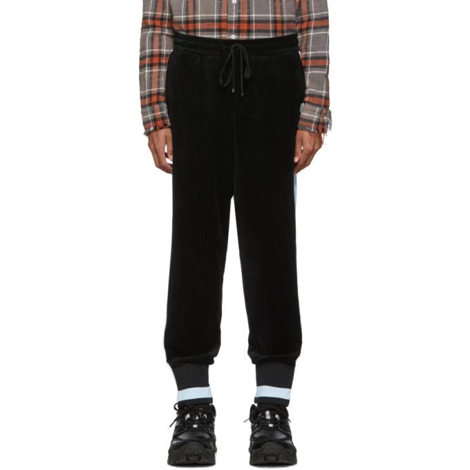 Miharayasuhiro Pantalon de survetement en velours cotele noir