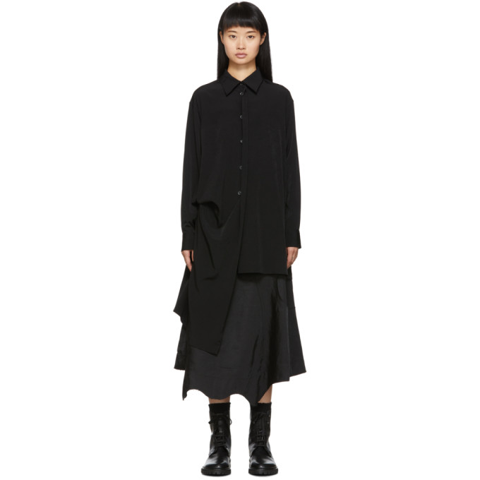 Yohji Yamamoto Chemise noire Right Side Picked Drop
