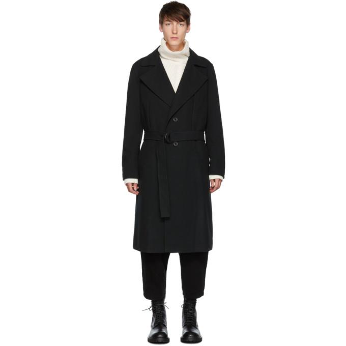 Yohji Yamamoto ブラック ベルト トレンチ コート