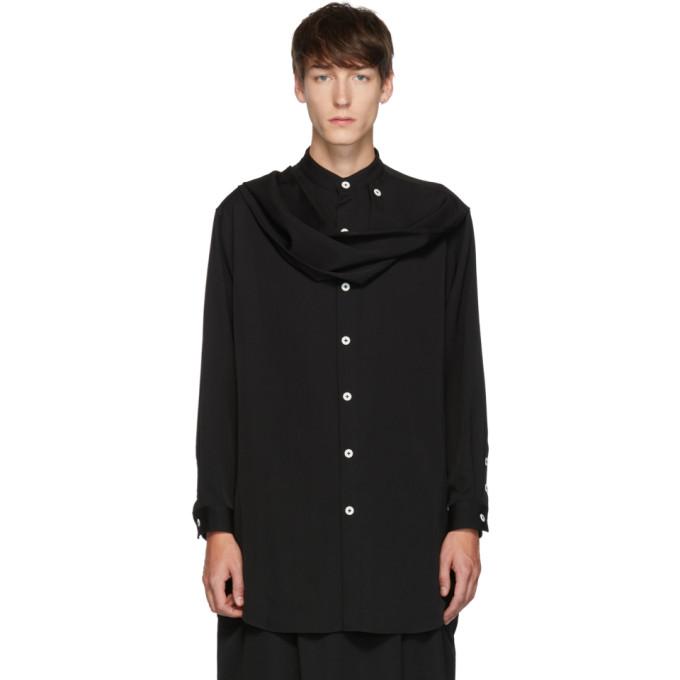 Yohji Yamamoto Chemise froissee en gabardine a foulard noire