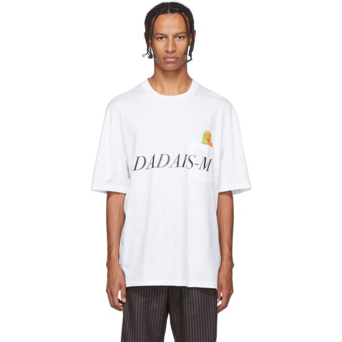 Christian Dada T-shirt blanc Signal Noise Print