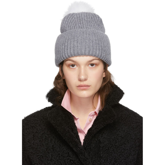Yves Salomon Bonnet a pompon gris Bonnet