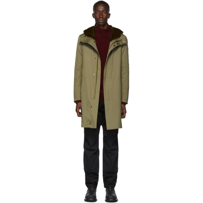 Yves Salomon Khaki Down Gabardine Jacket