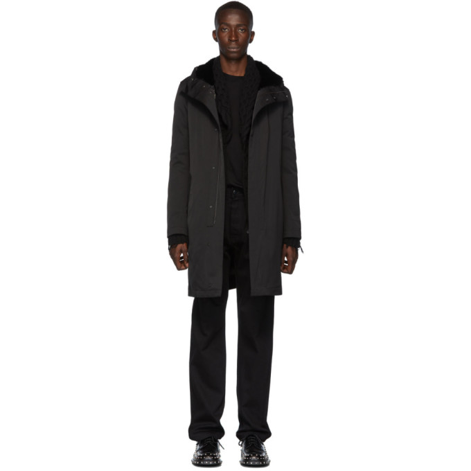 Yves Salomon Black Down Gabardine Jacket