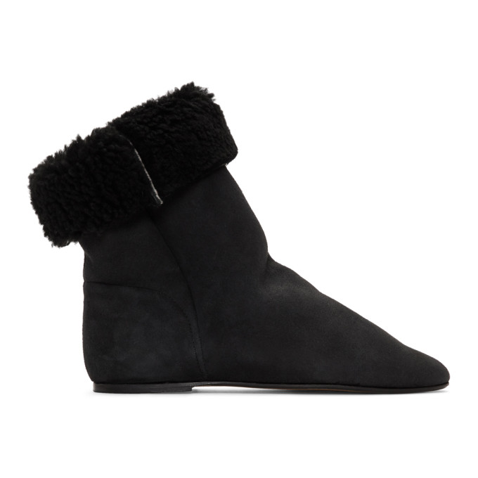 Isabel Marant Black Shearling Rullee Boots