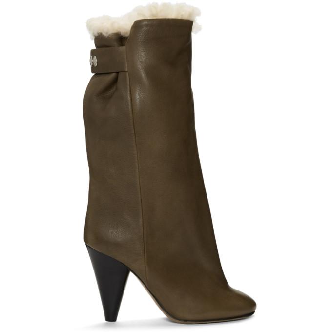 Isabel Marant Khaki Shearling Lakfee Boots